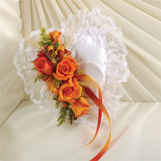 1 800 Flowers 174 Satin Heart Casket Pillow In Fall Colors