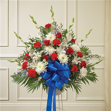 red white amp blue sympathy standing basket 1800flowers